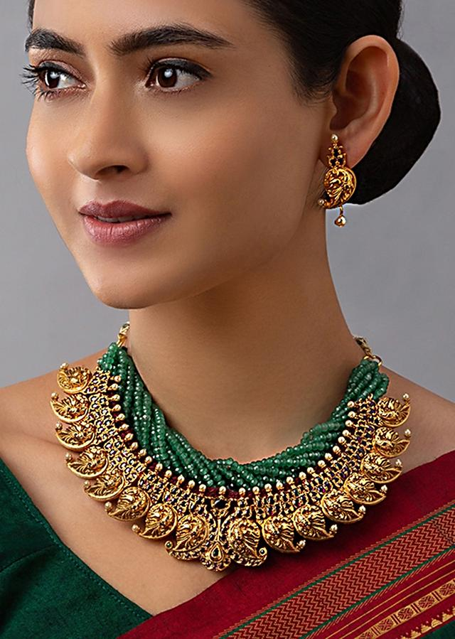 Green Agate Necklace And Earrings Set With Carved Paisley Motifs, Hydro Rubies And Emeralds Online - Joules By Radhika