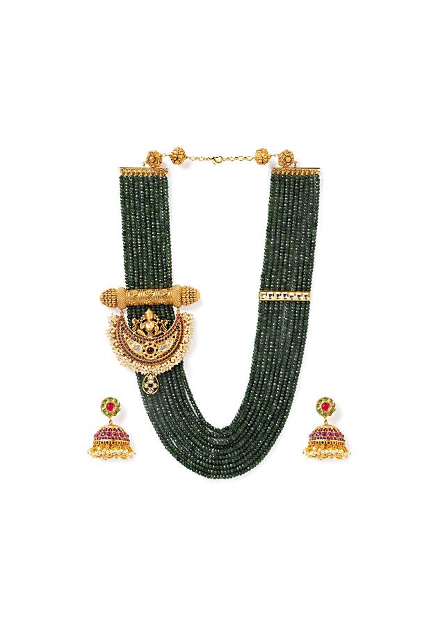 Green Agate Necklace And Jhumkas Set With Carved Temple Pendant, Moti And Hydro Kundan Polki Online - Joules By Radhika