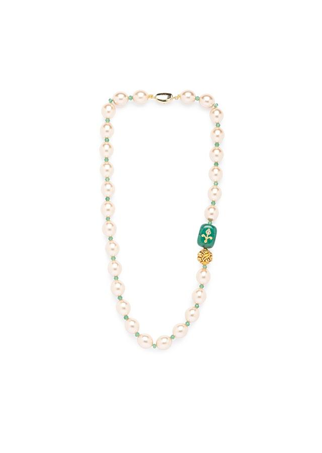 Green Agate Necklace With Shell Pearls, Green Onyx Highlight And Gold Plated Carved Beads Online - Joules By Radhika