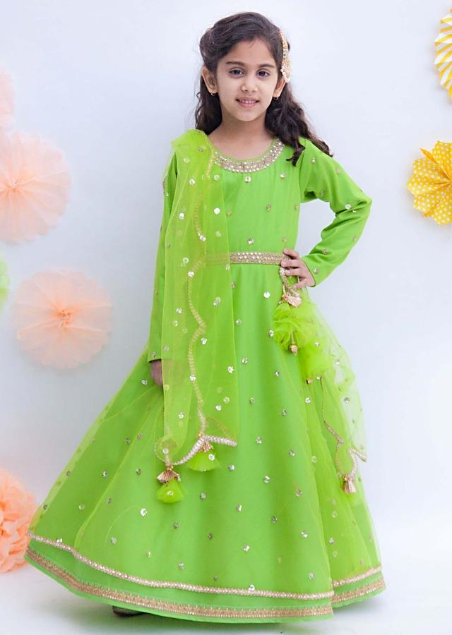 Green Anarkali Suit In Net With Sequins Butti Work By Fayon Kids