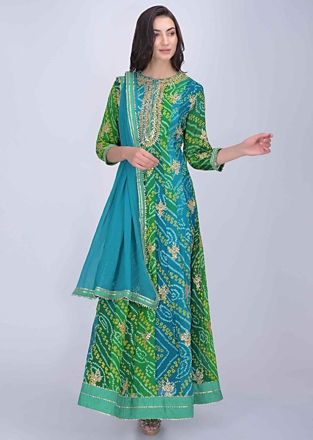 Green Anarkali Suit In Shaded Bandhani Printed Georgette Online - Kalki Fashion