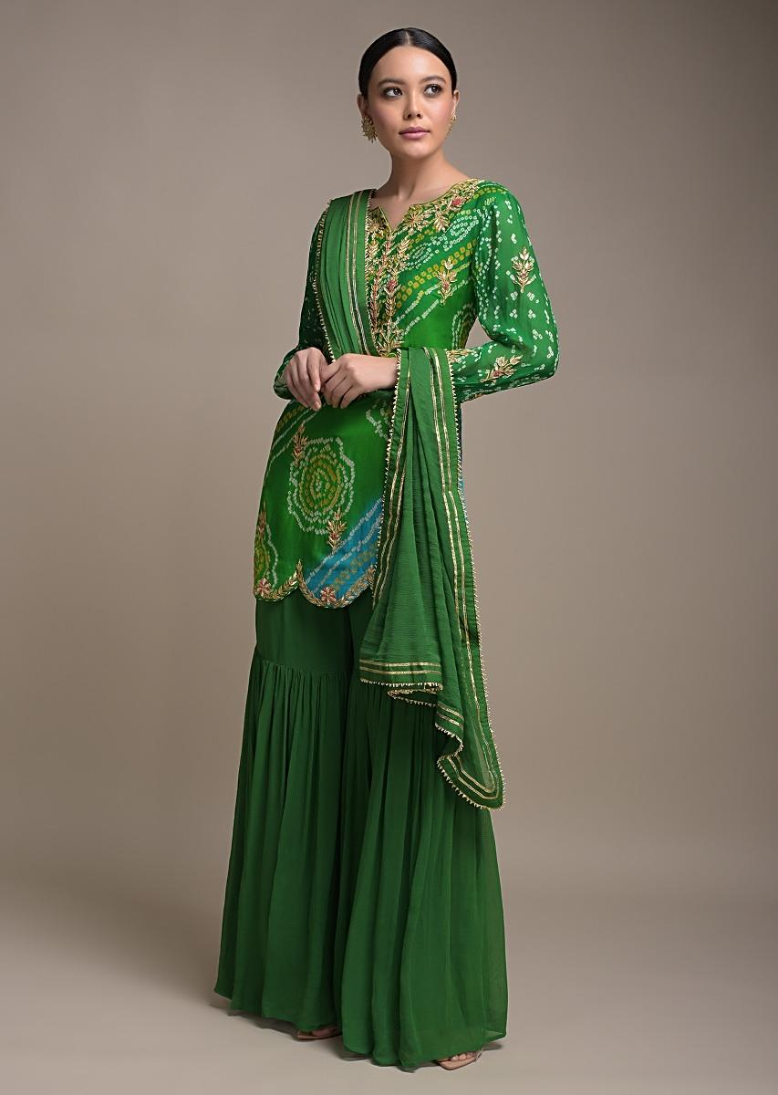 Green And Blue Shaded Sharara Suit In Georgette With Bandhani Print