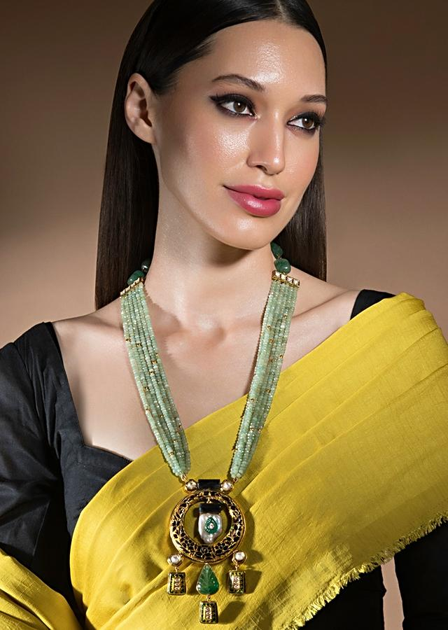 Green And Gold Agate Necklace With Hydro Kundan Polki, Baroque Pearls And Carved Jade Pendant Online - Joules By Radhika