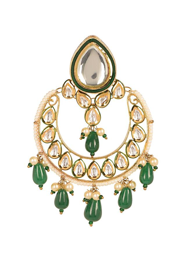 Green And Gold Crescent Danglers With Green Beads, Pearls And Kundan Work Online - Kalki Fashion
