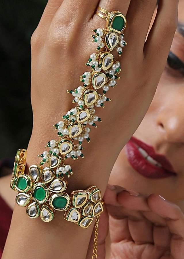 Green And Gold Hathphool Handcrafted Using Kundan And Shell Pearls By Paisley Pop