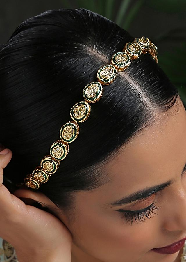 Green And Gold Headband With Kundan Work In A Timeless Classic Design By Paisley Pop
