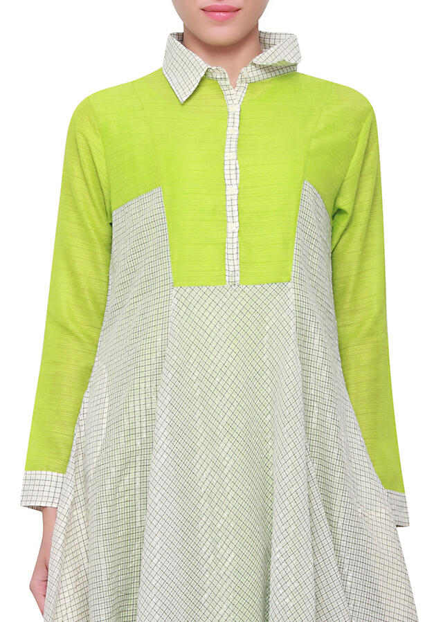 Green and grey silk kurti in anarkali style with collar only on kalki