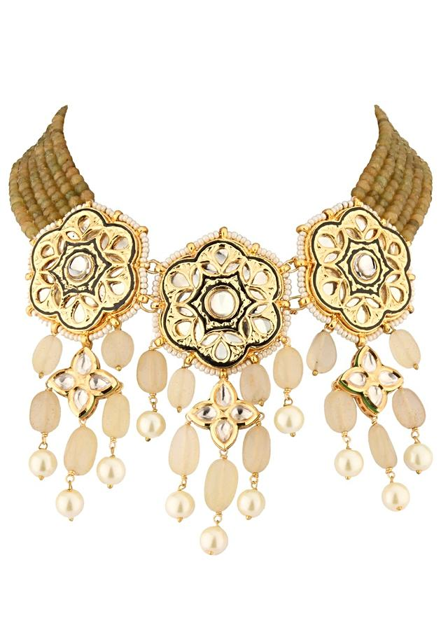 Green And Ochre Kundan Necklace And Earring Set In Floral Design With Dangling Beads Online - Joules By Radhika