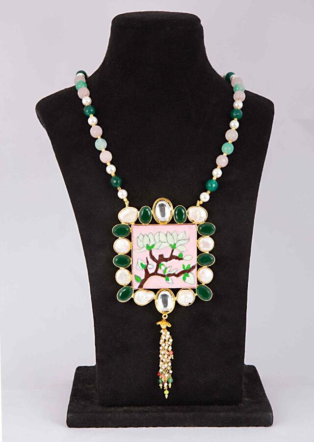 Green And Pink Beaded Necklace With Hand Painted Wooden Pendant Online - Kalki Fashion