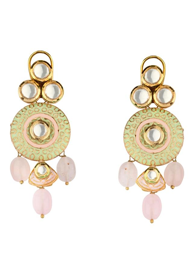 Green And Pink Enamelled Necklace And Earrings Set With Kundan And Pink Beads Online - Joules By Radhika