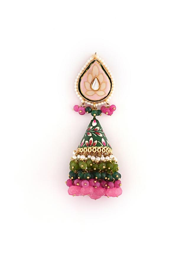 Green And Pink Jhumkas With Hand Painted Enameling And Kundan Along With Multi Colored Semi Precious Beads By Kohar