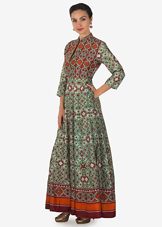 Green And Red Dress In Ikkat Motif Printed Dress Online - Kalki Fashion