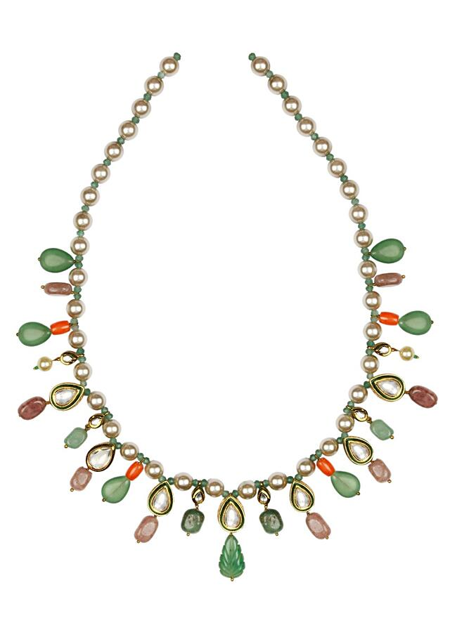 Green And Red Necklace And Earrings Set With Kundan, Jades, Pearls, Coral And Agates Online - Joules By Radhika