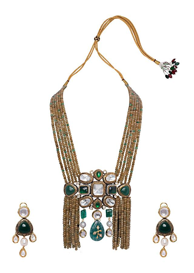 Green and White Gold Tone Wedding Necklace Set Joules By Radhika