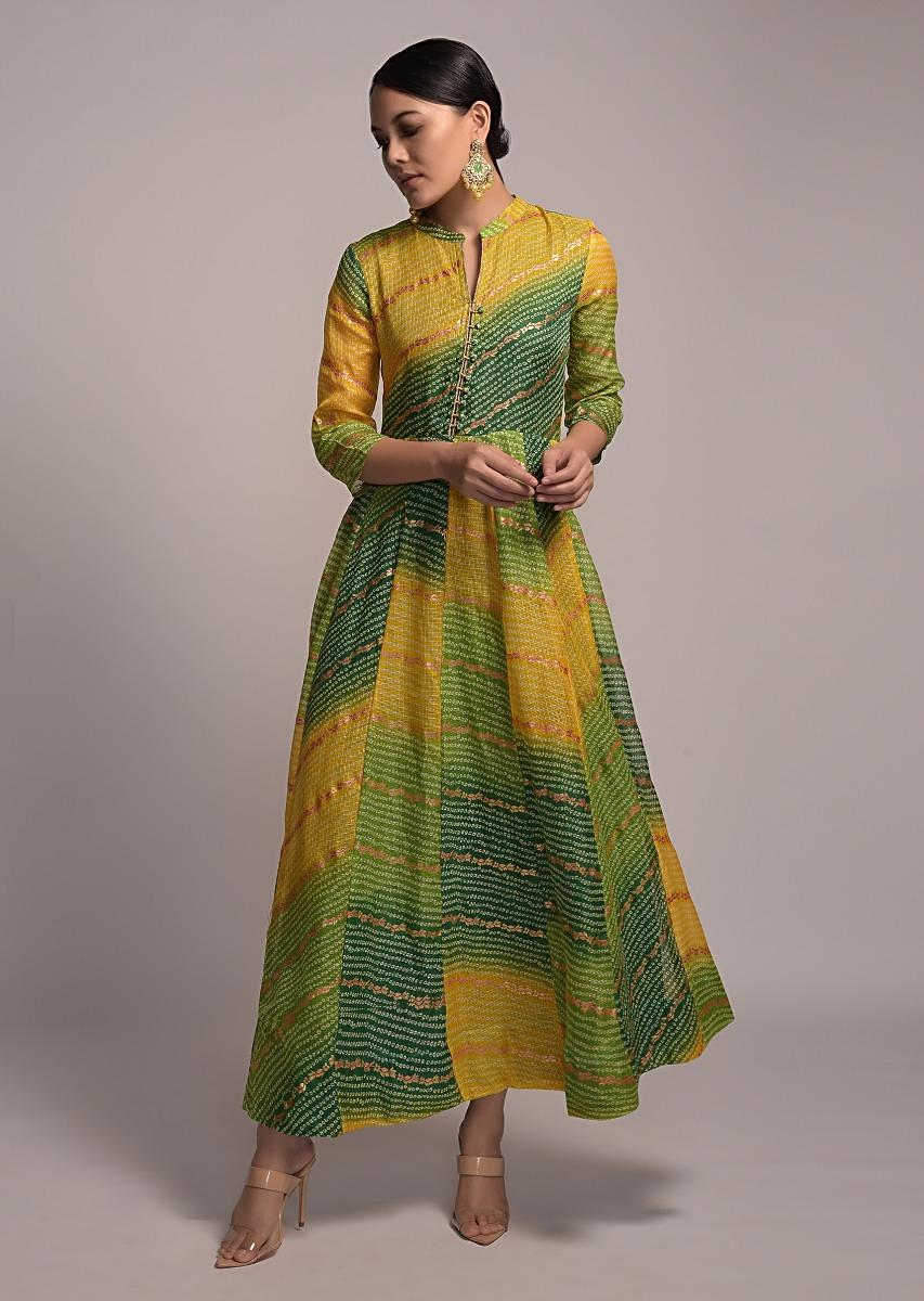 Green And Yellow Shaded Anarkali Tunic With Bandhani And Foil Print Online - Kalki Fashion