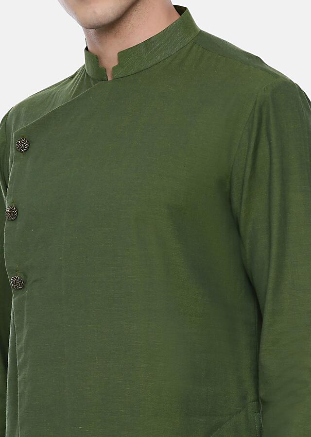 Green Asymmetric Kurta In Malai Cotton With Self Thread Embroidered Running Stitches By Mayank Modi