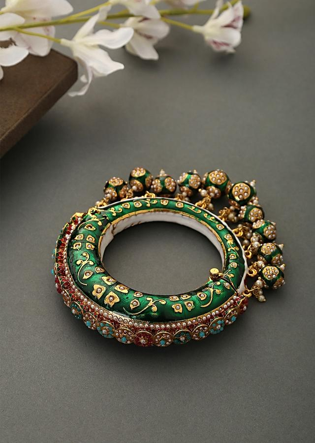 Green Bangle Featuring Hand Painted Minakari And Traditional Punjabi Jadau Work With Shell Pearls By Paisley Pop