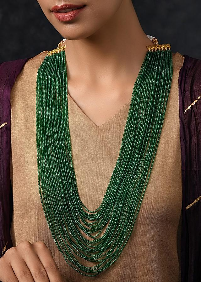 Green Beaded Necklace With Multiple Layers Of Jade Stone Beads By Paisley Pop