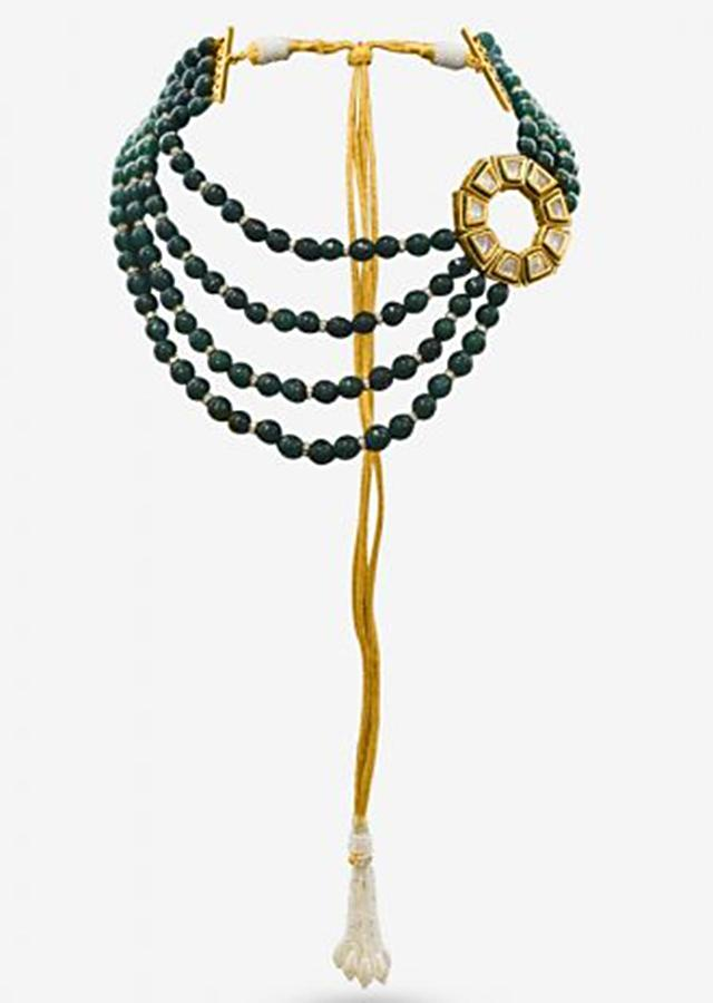 Green Beads Layered Necklace With Round Kundan Piece On The Side By Prerto