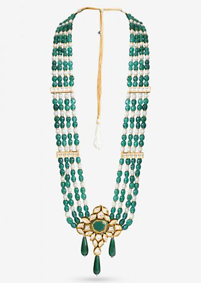 Green Beads Multi Layer Necklace With Pearls And Kundan Pendant Accent By Prerto
