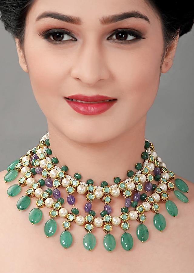 Green Choker Necklace With Polki, Shell Pearls, Jade Beads And Amethyst Beads Online - Joules By Radhika