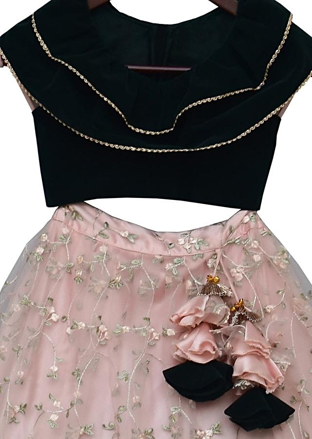Green Choli In Velvet With Peach Lehenga With Floral Embroidery By Fayon Kids