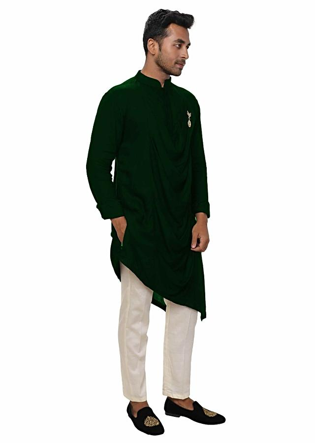 Green Kurta Set With Asymmetrical Cowl Drape Online - Kalki Fashion