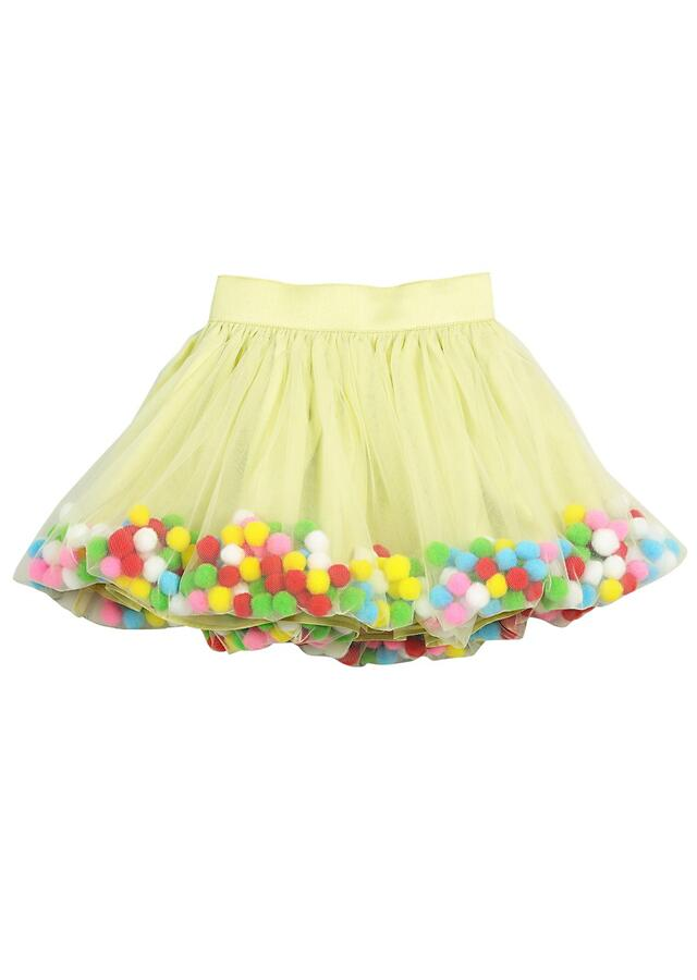 Green Crop Top And Balloon Skirt With Colorful Pom-Poms Online - Free Sparrow