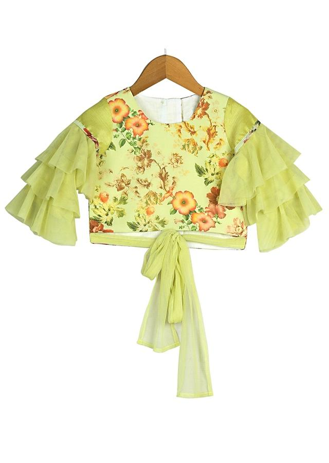 Green Crop Top And Sharara Set With Floral Print And Ruffle Sleeves Online - Free Sparrow
