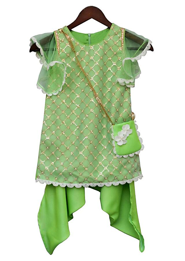 Green dhoti suit with sequins embroidery in geometric pattern By Fayon Kids