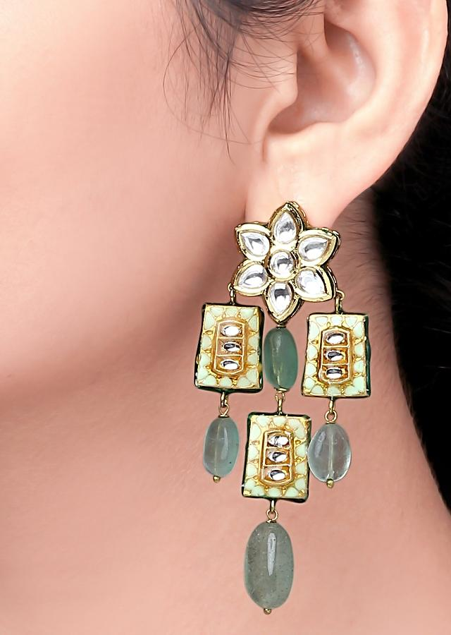 Green Earrings With Polki, Meenakari And Shell Pearls In Dangling Design Online - Joules By Radhika