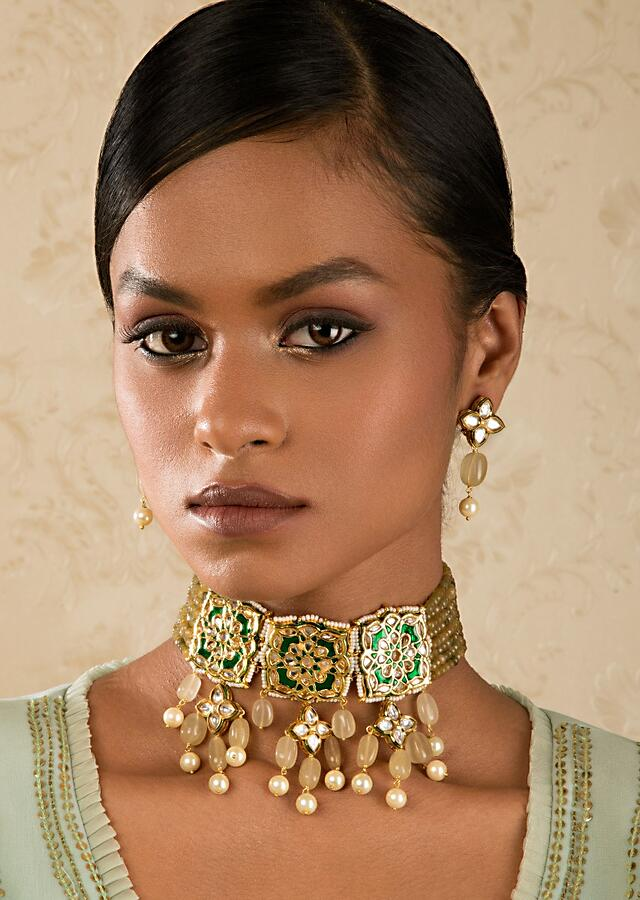 Green Enamelled Necklace And Earring Set With Kundan And Dangling Beads Online - Joules By Radhika