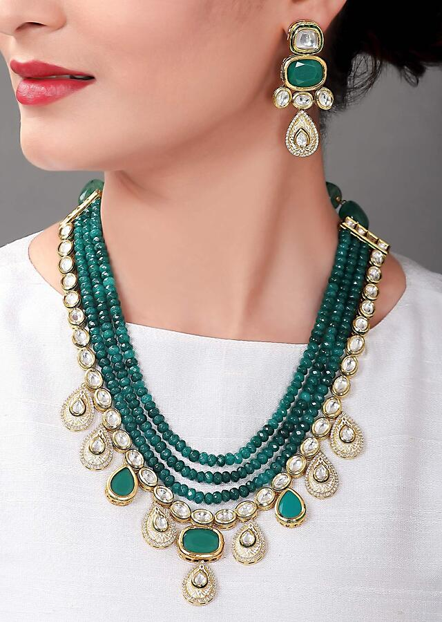 Green Festive Earring And Wedding Necklace Set With Kundan And Layered Bead Strands Online - Joules By Radhika