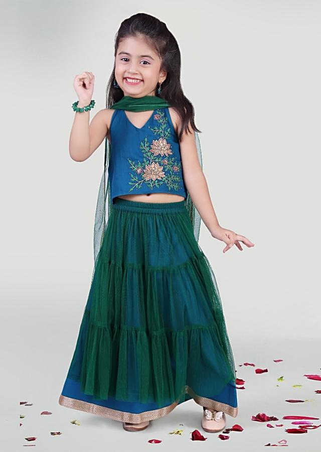Green Gathered Skirt In Net With Blue Cotton Choli Adorned In Resham Work By Mini Chic