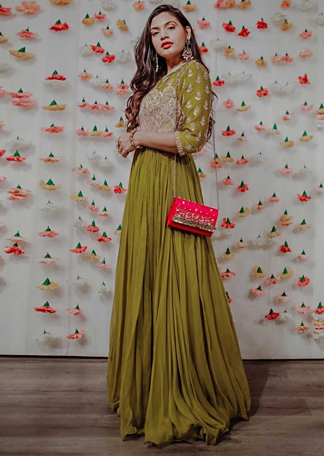Green Georgette Anarkali With Embroidered Bodice And Cut Out From The Sides Only On Kalki Online - Kalki Fashion