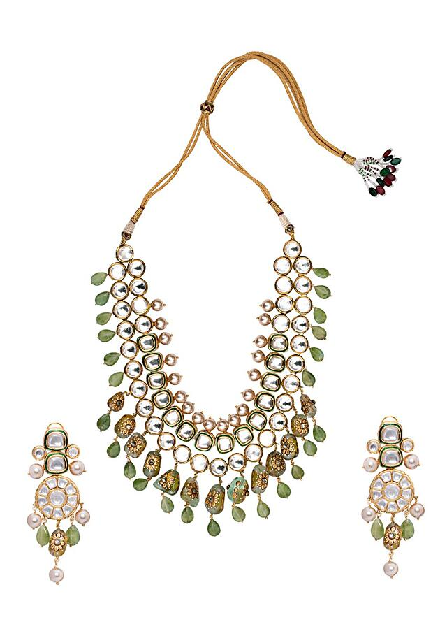 Green Gold Tone Studded Bridal Necklace Set Joules By Radhika