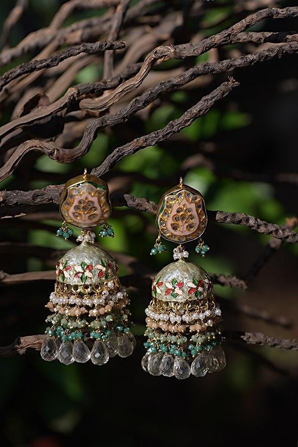 Green Jhumkas With Carved Floral Mina Work, Kundan And Dangling Colorful Bead Fringes Kohar By Kanika