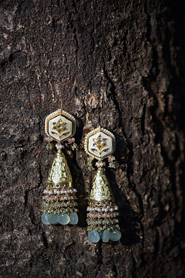 Green Jhumkas With Carved Floral Pattern And Dangling Colorful Bead Fringes Kohar By Kanika