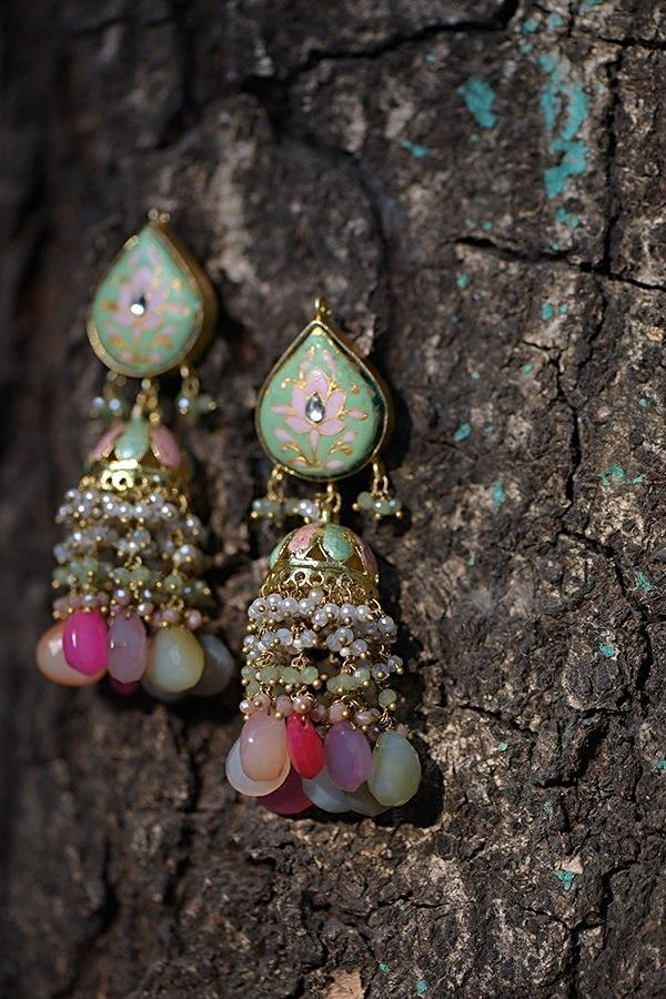 Green Jhumkas With Pink Mina Work In Floral Motifs And Dangling Colorful Bead And Pearl Fringes Kohar By Kanika