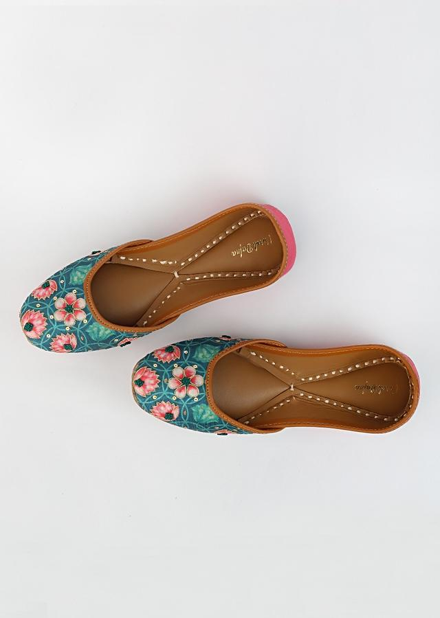 Green Juttis With Kamal Print And Accented Using Zari Flowers, French Knots And Sequins By Vareli Bafna