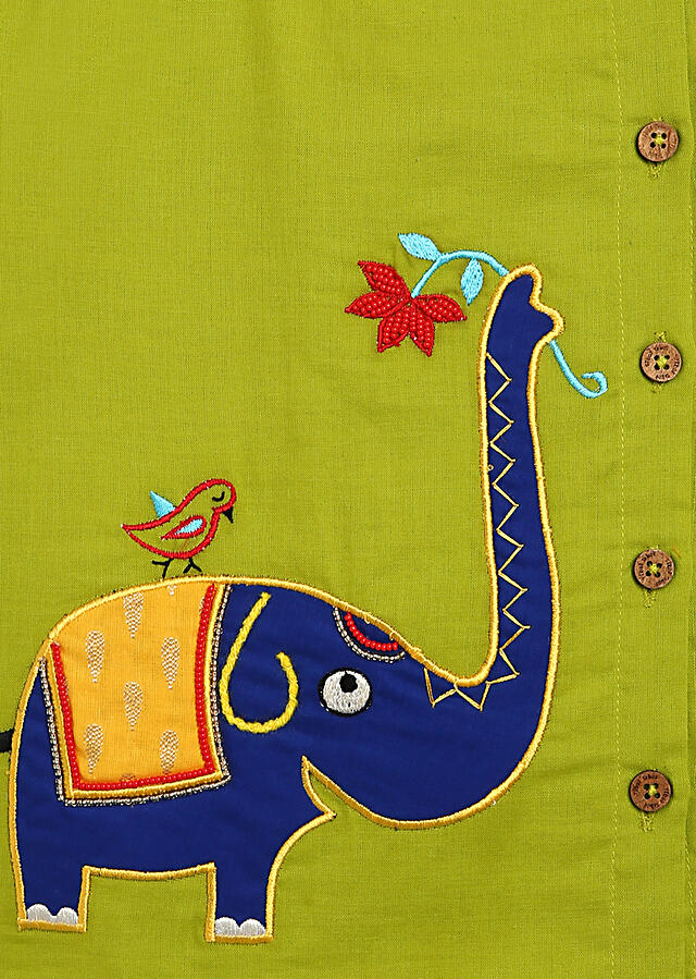 Green Kurta And Blue Dhoti Set In Cotton With Moti, Resham And Zardosi Embroidered Elephant Motif By Tiber Taber