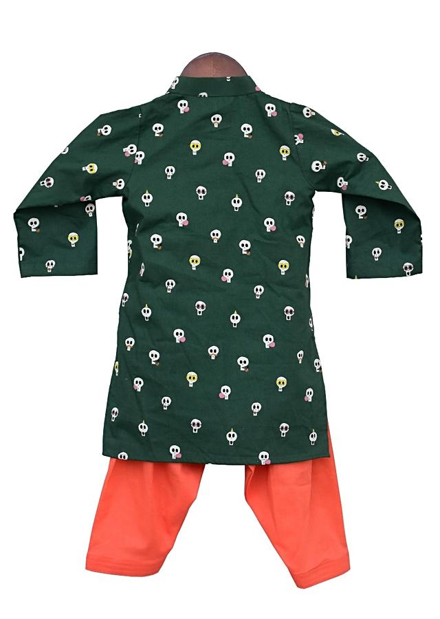 Green Kurta With Quirky Skull Print And Orange Salwar By Fayon Kids