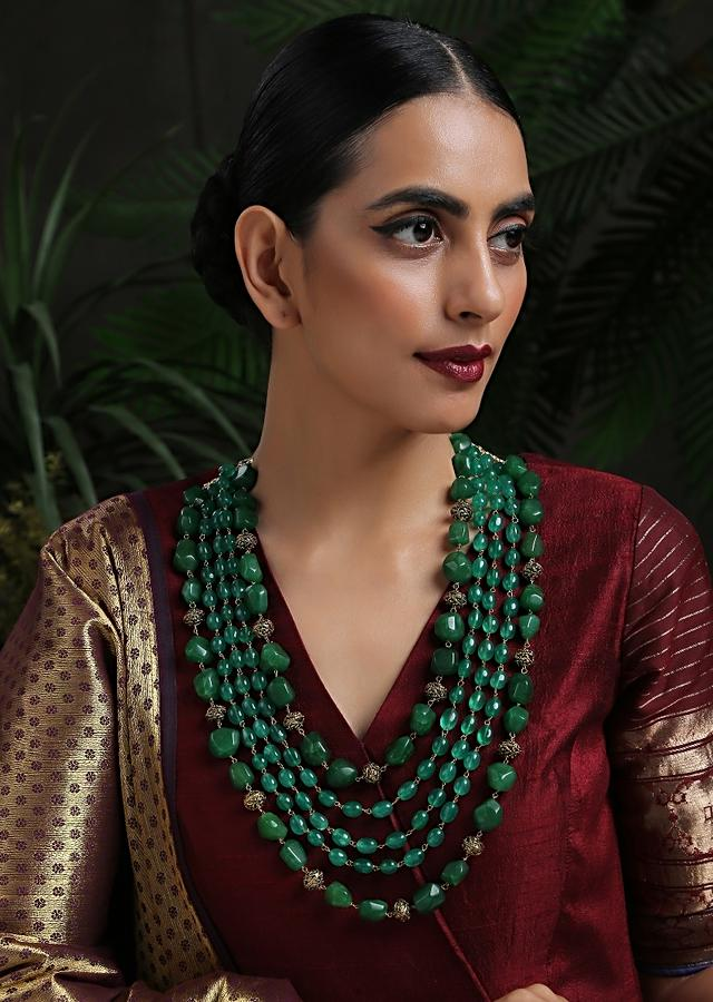 Green Layered Necklace With Four Layers Of Green Stones In A Bohemian Inspired Design By Paisley Pop