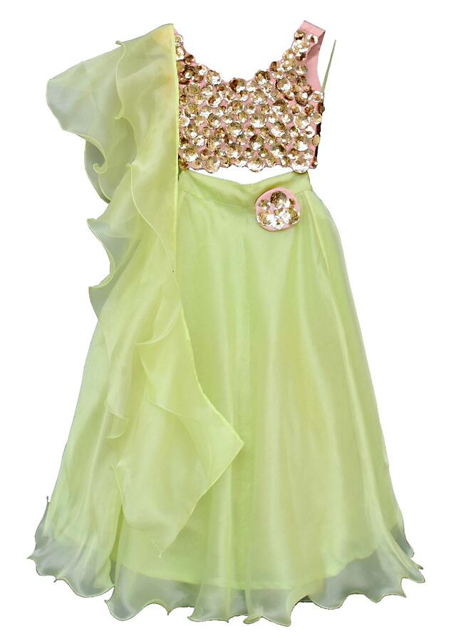 Green Lehenga Choli With S3D Flowers In Sequins And Ruffle Dupatta By Fayon Kids