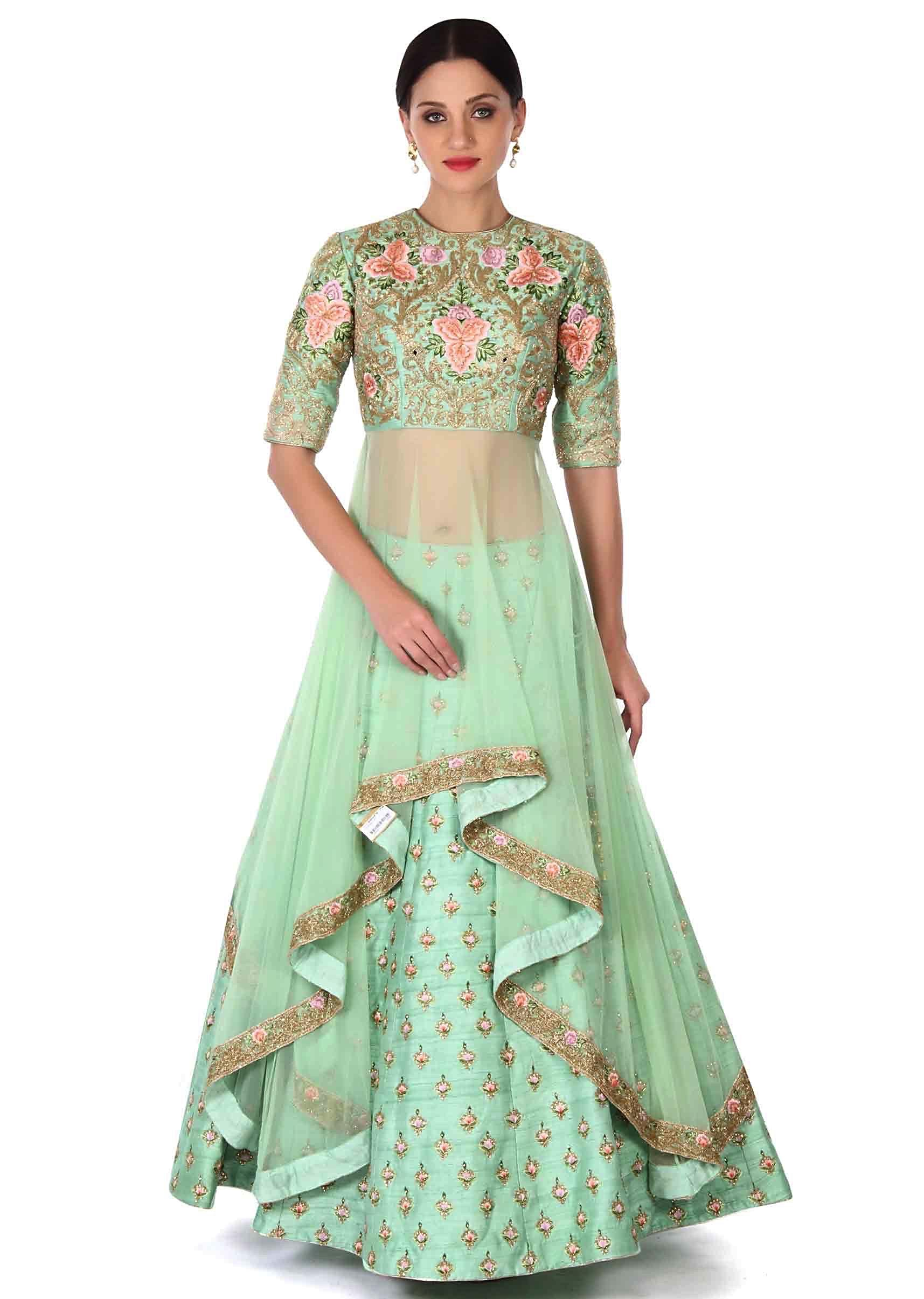 2bf24839b Green lehenga with long embroidered blouse only on KalkiMore Detail