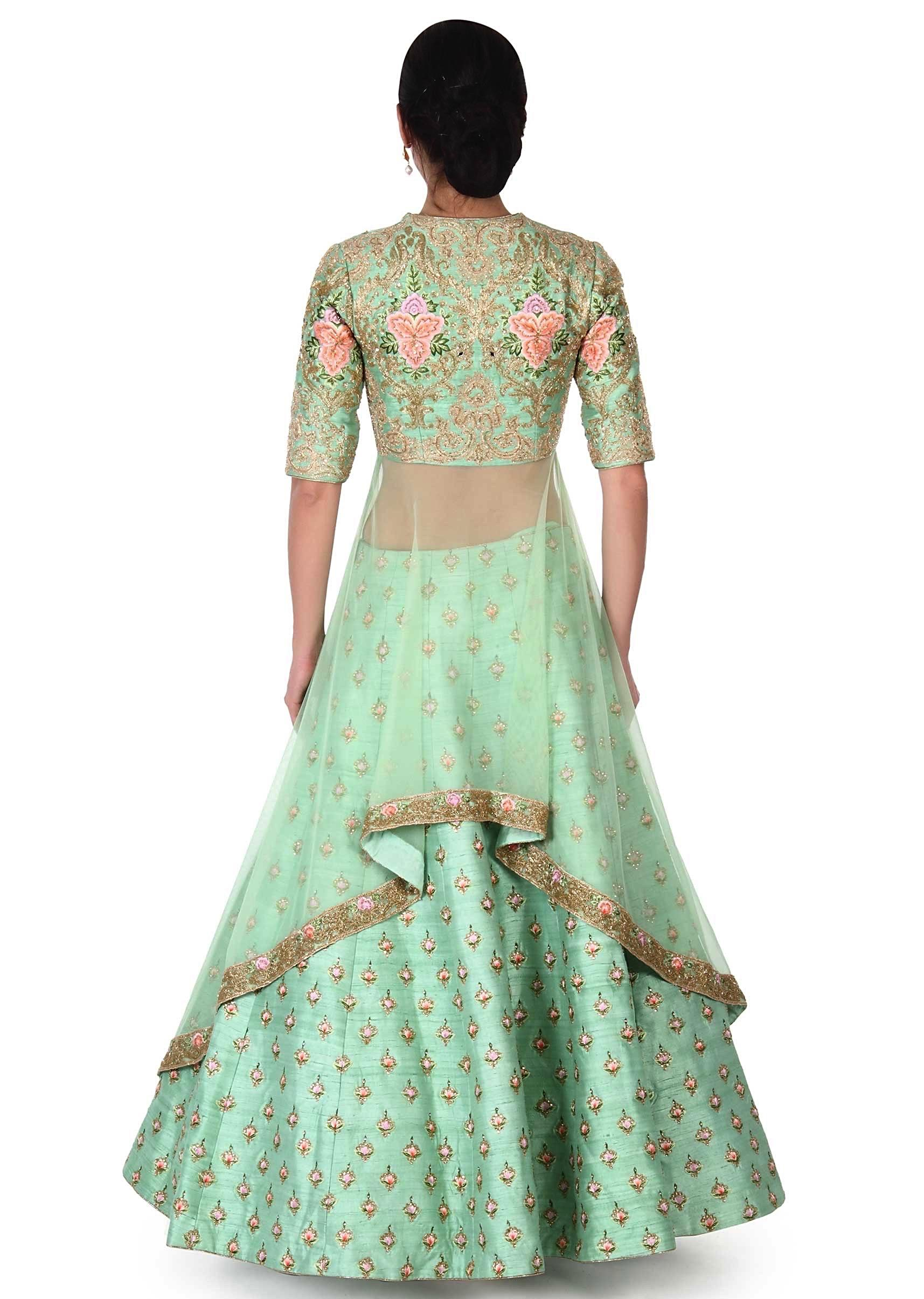 fd39d2fcdd73a4 Green lehenga with long embroidered blouse only on KalkiMore Detail