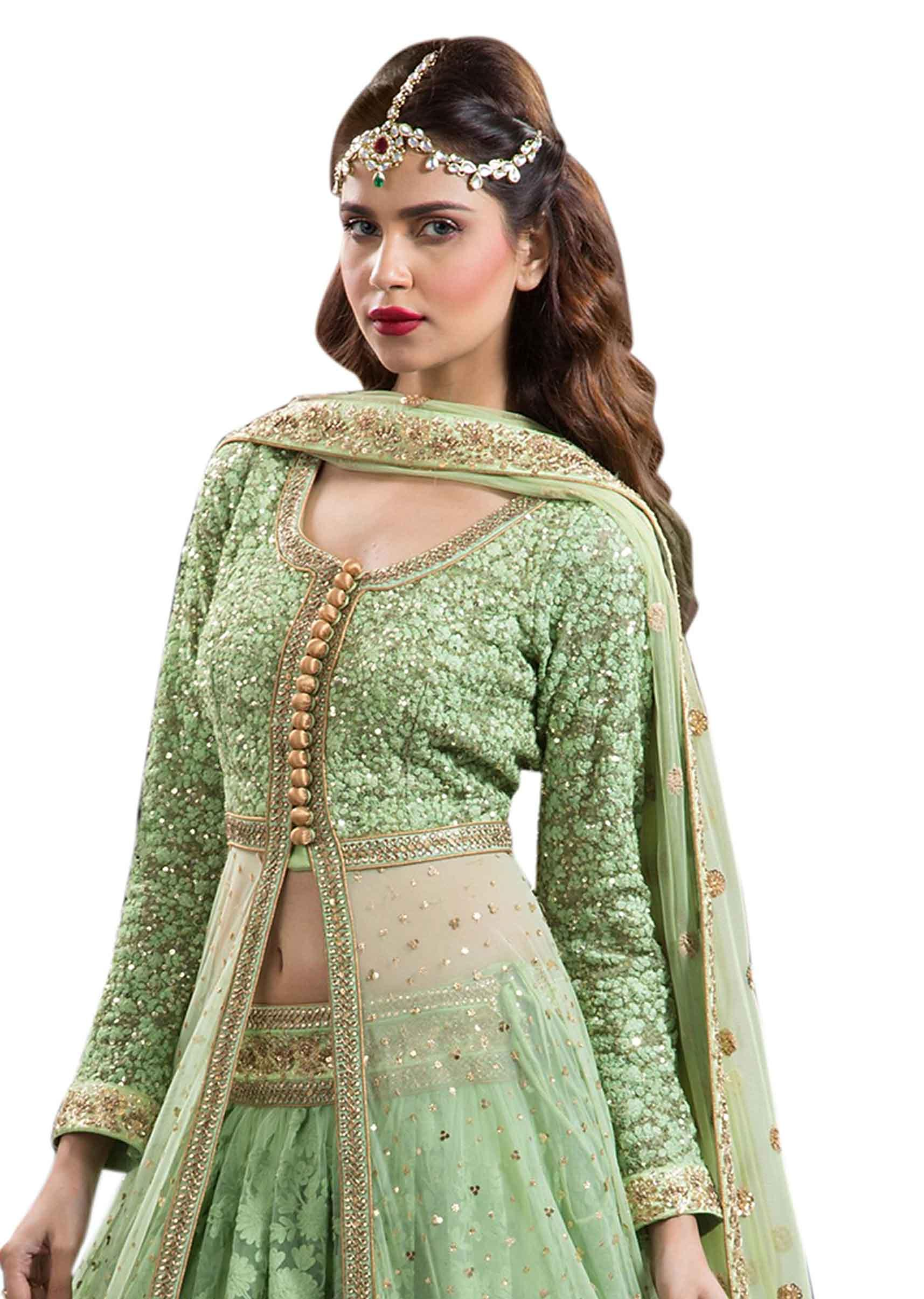 da0a773d0 Green lehenga with long embroidered jacket blouse