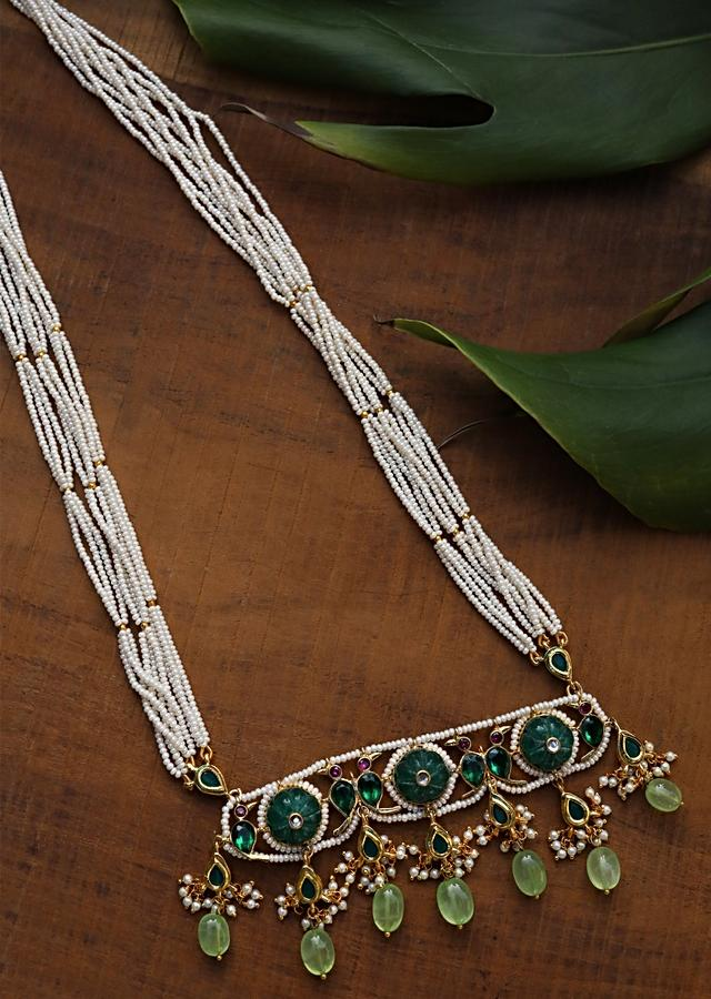 Green Long Necklace With Kundan Pendant, Dangling Green Stones And Several Pearl Strings By Paisley Pop