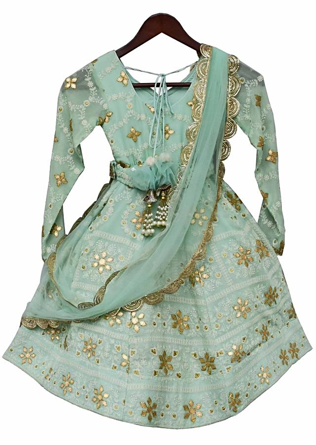 Green Lucknowi Anarkali Dress By Fayon Kids
