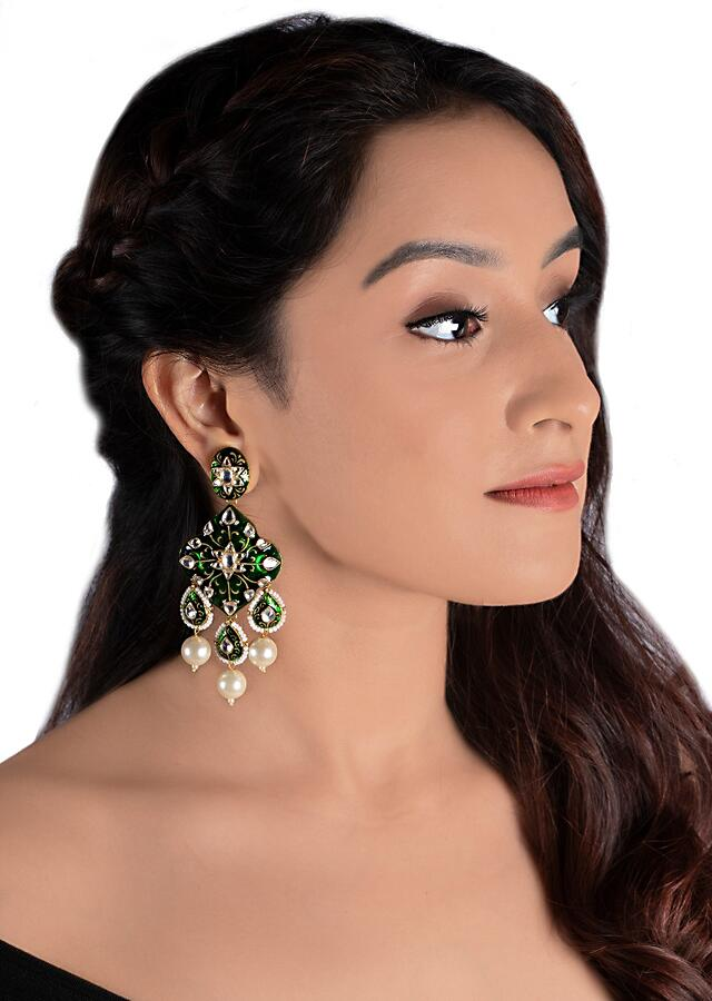 Green Minakari Earrings With Triple Dangling Drops Along With Moti Accents By Riana Jewellery